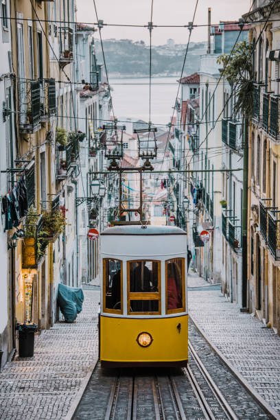 elevador da bica, lisbon - international landmark stock photos and pictures