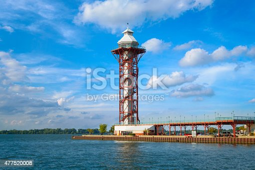 Photo of the Bicentennial Tower at Dobbins Landing, a popular tourist area of Erie, Pennsylvania, USA. It is an observation tower that features panoramic views of Lake Erie, Presque Isle State Park, and downtown Erie.