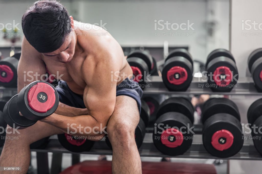 Bicep Work Out stock photo