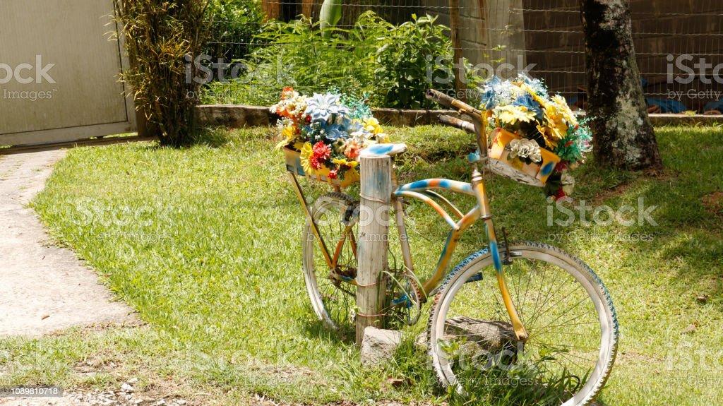 Bicicleta com flores coloridas decorando jardim stock photo