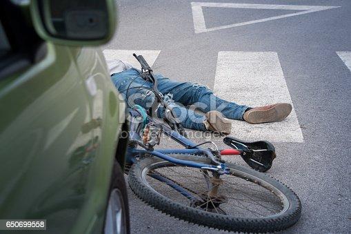 istock Bicycle accident 650699558