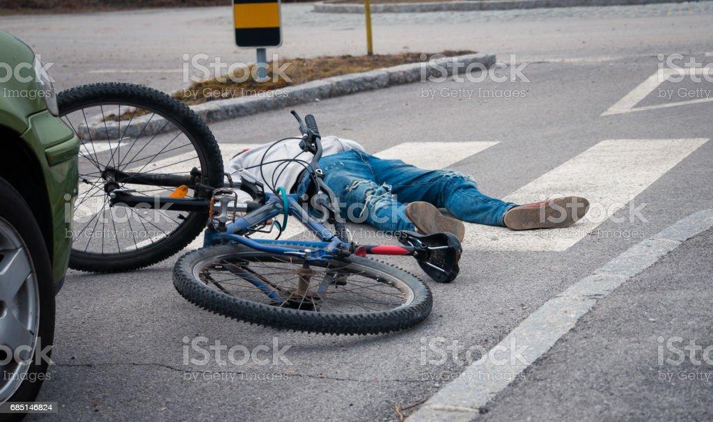 Accidente de bicicleta  - foto de stock