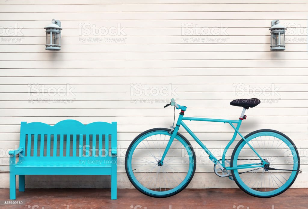 Astonishing Bicycle And Bench Beside Wooden Wall Stock Photo Download Onthecornerstone Fun Painted Chair Ideas Images Onthecornerstoneorg