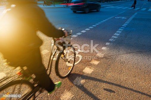 667005568 istock photo Bicycle and bike lane symbol in fall sunset 1053469242
