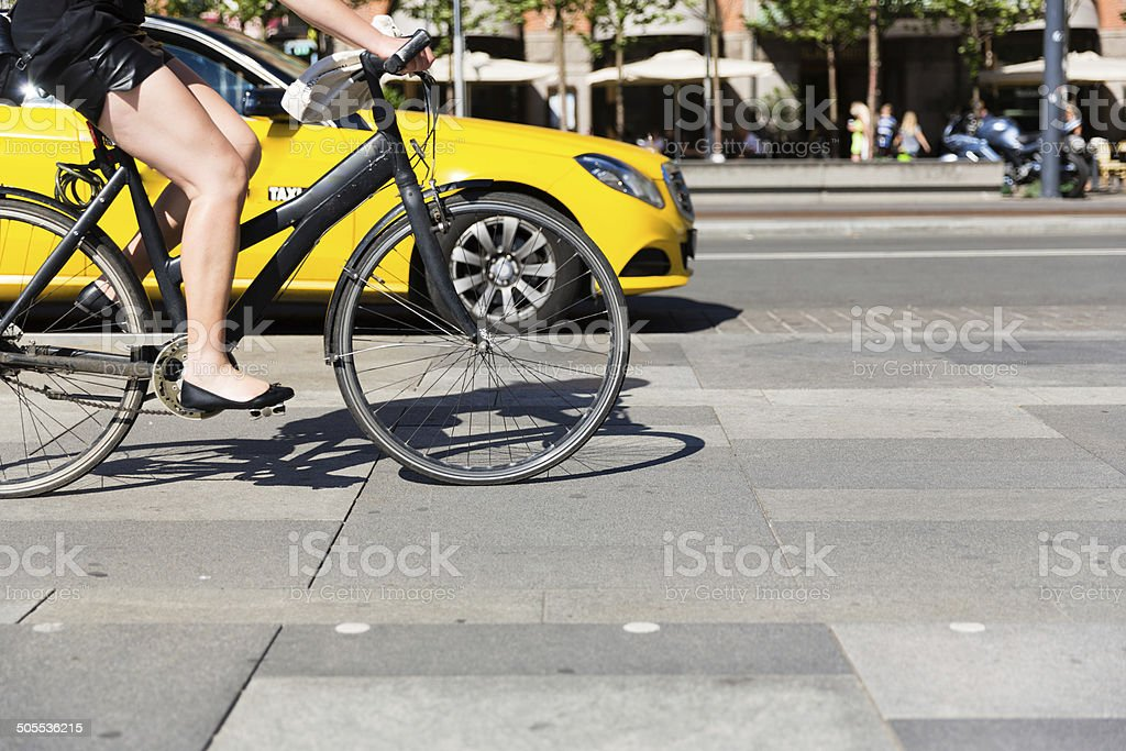 Bicycle and cab stock photo