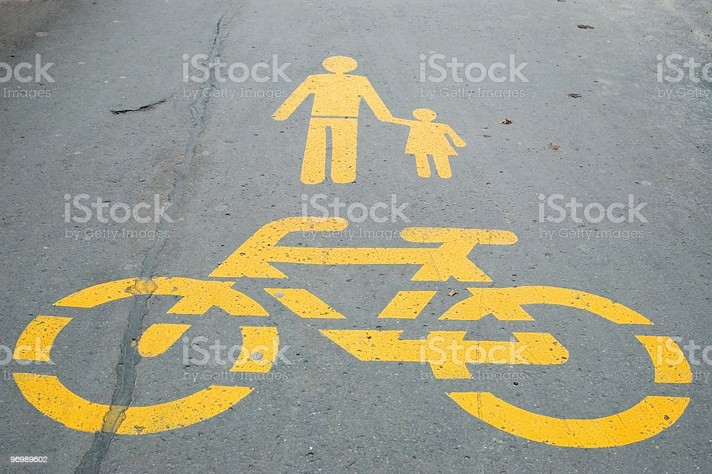 Bicycle and family sign royalty-free stock photo