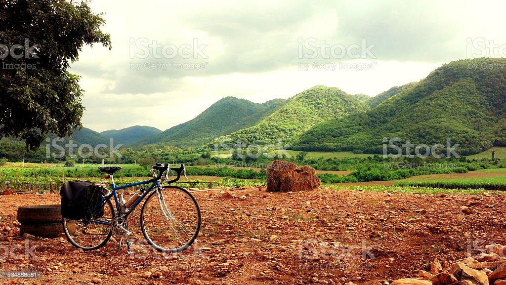 Bicycle and Mountain Stop 3 stock photo