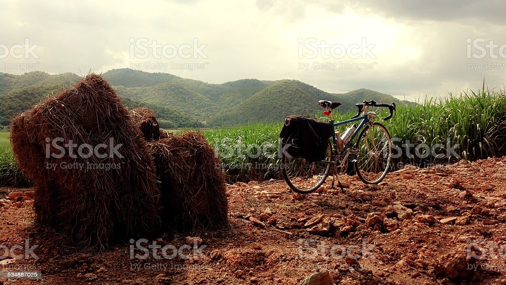 Bicycle and Mountain stop stock photo