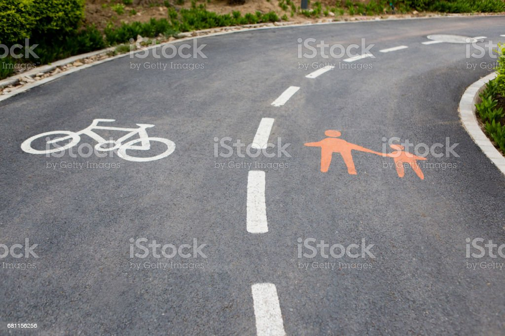 Bicycle and pedestrian paths stock photo