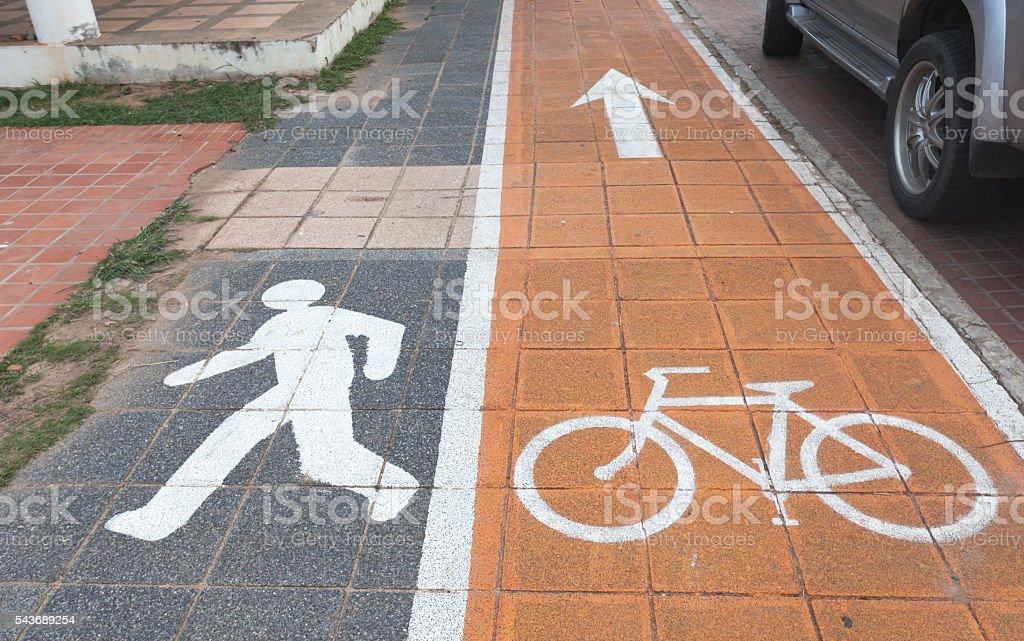 Bicycle and walking lane stock photo