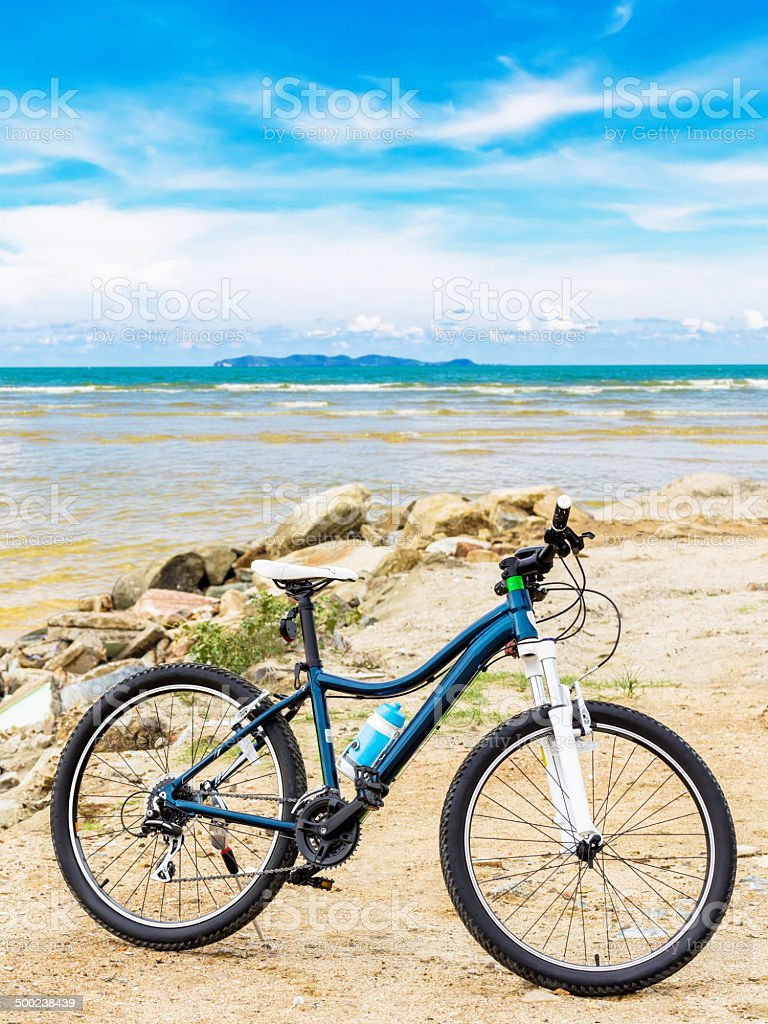 Bicycle at beach stock photo