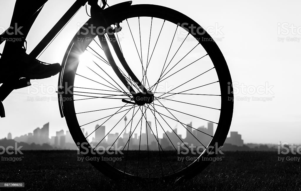 Bicycle at sunset royalty-free stock photo