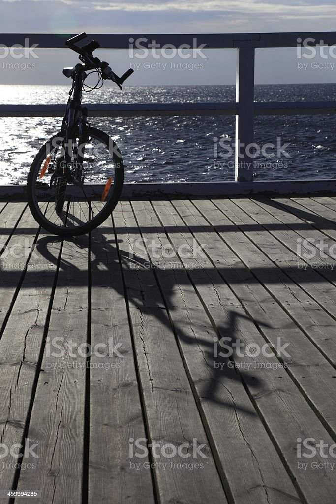 bicycle at the pier royalty-free stock photo