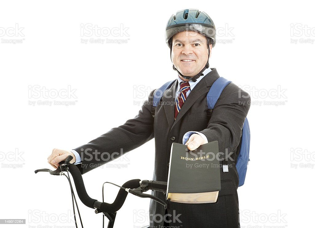 Bicycle Bible Salesman stock photo