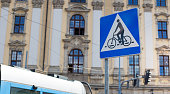 Bicycle Blue Sign near the road
