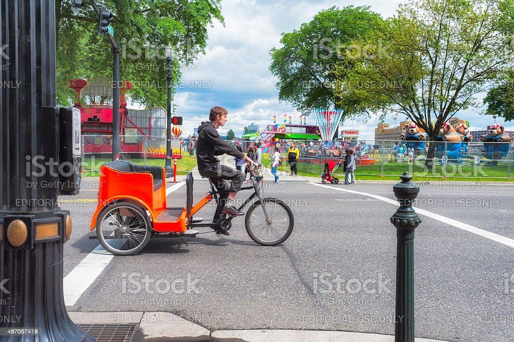 Bicycle Cab along Portland Oregon waterfront stock photo
