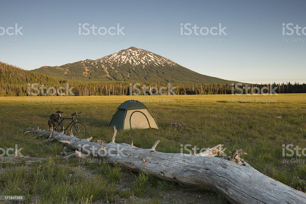 Bicycle camping in the high Cascades stock photo