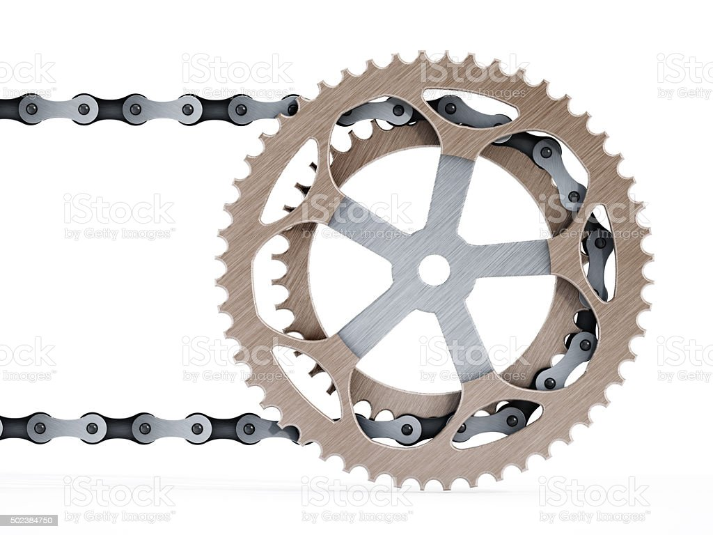 Bicycle chain connected to alloy gear stock photo