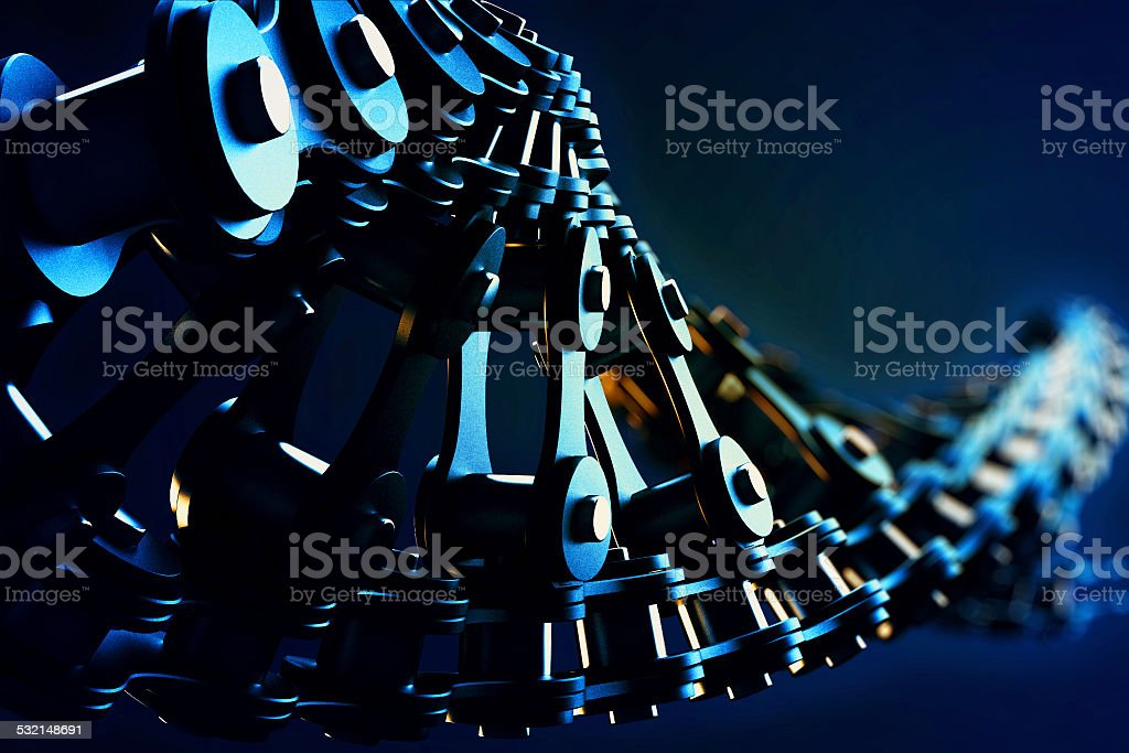 bicycle chain in a DNA form stock photo