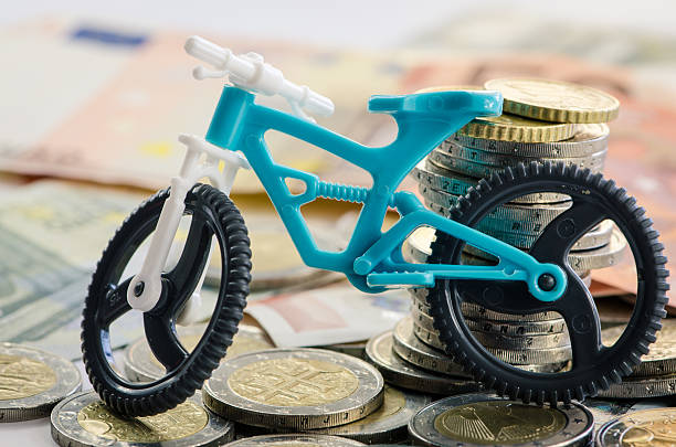 bicycle, coins and banknotes