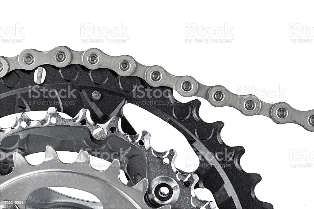 bicycle crank and chain stock photo