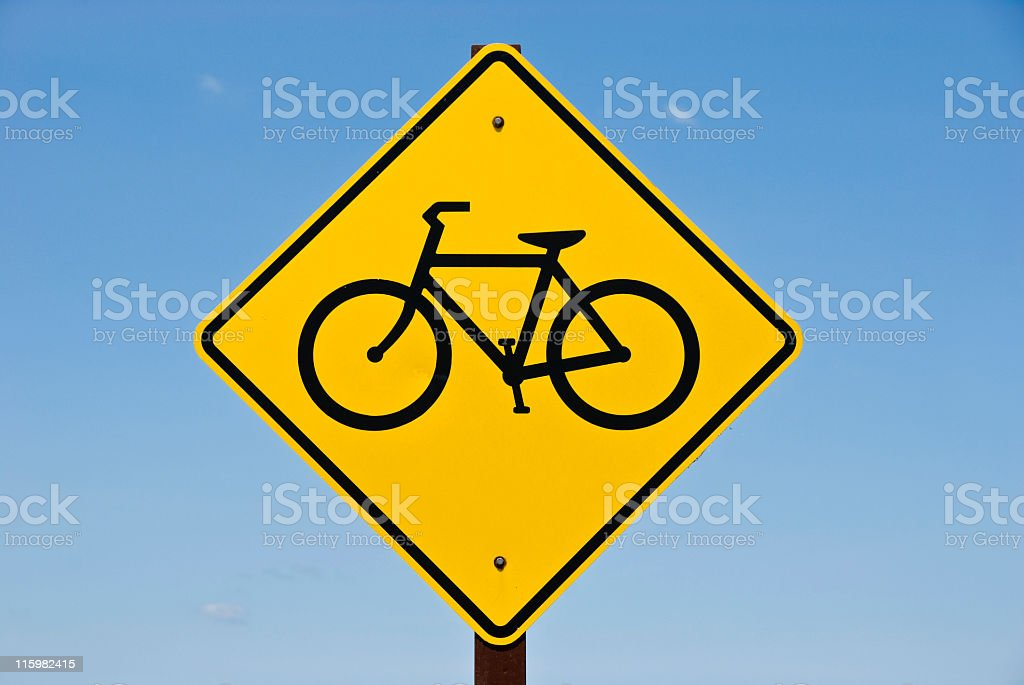 Bicycle Crossing Sign stock photo