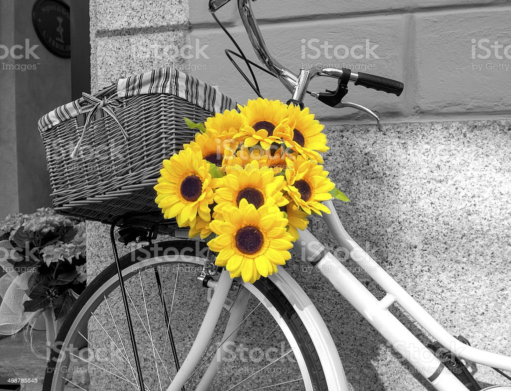 Bicycle decorated with sunflowers BW image stock photo