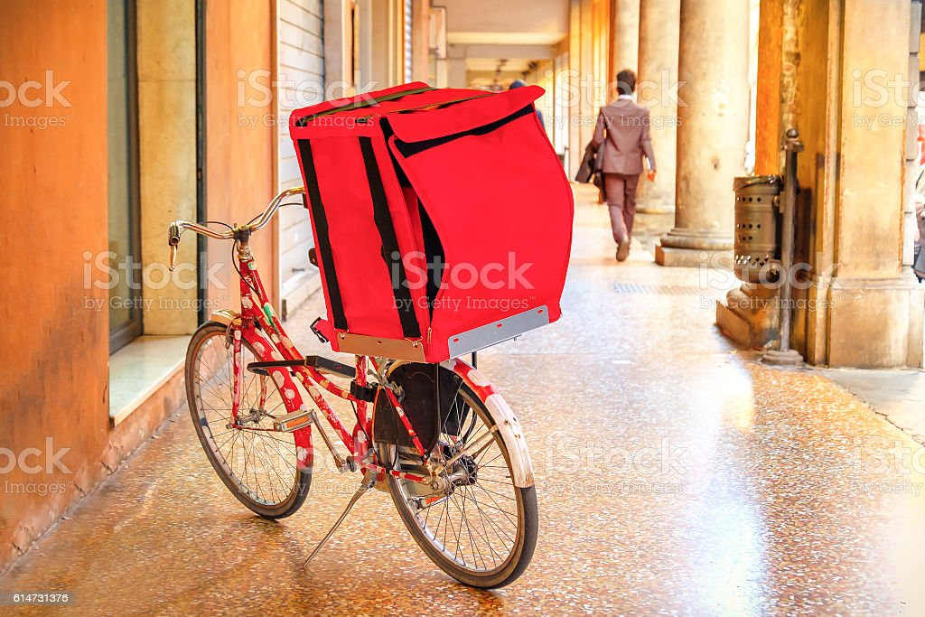bicycle delivery red box bike stock photo