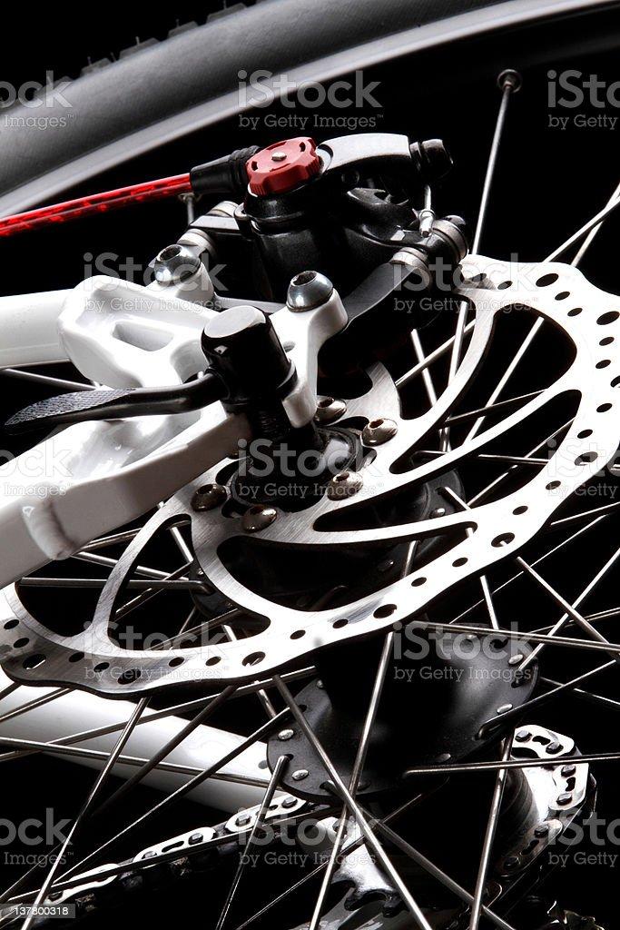 Bicycle disc brake Rear Disc brake on mountain bike Bicycle Stock Photo