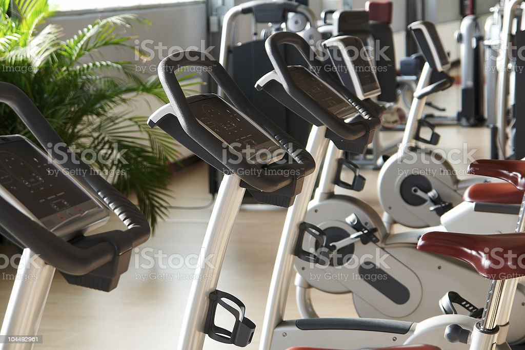 bicycle ergometer stock photo