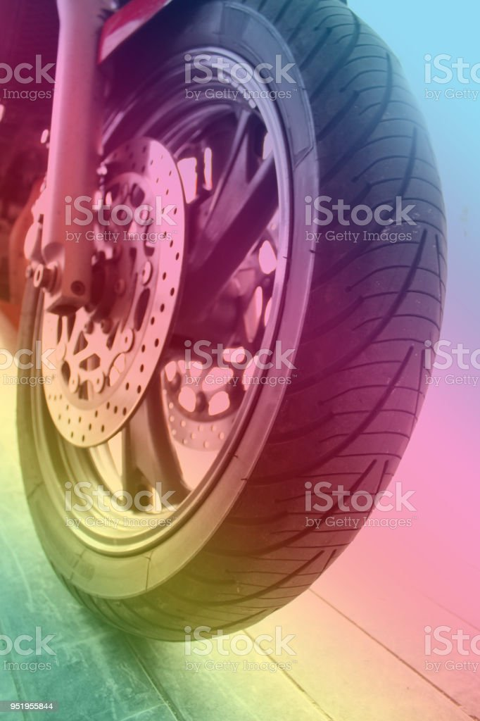 Bicycle front wheel tire stock photo