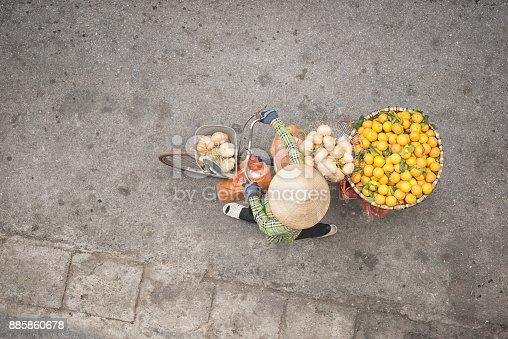 istock Bicycle Fruit Push Cart, Street Market Life, Old Quarter, Ha Noi, Vietnam 885860678