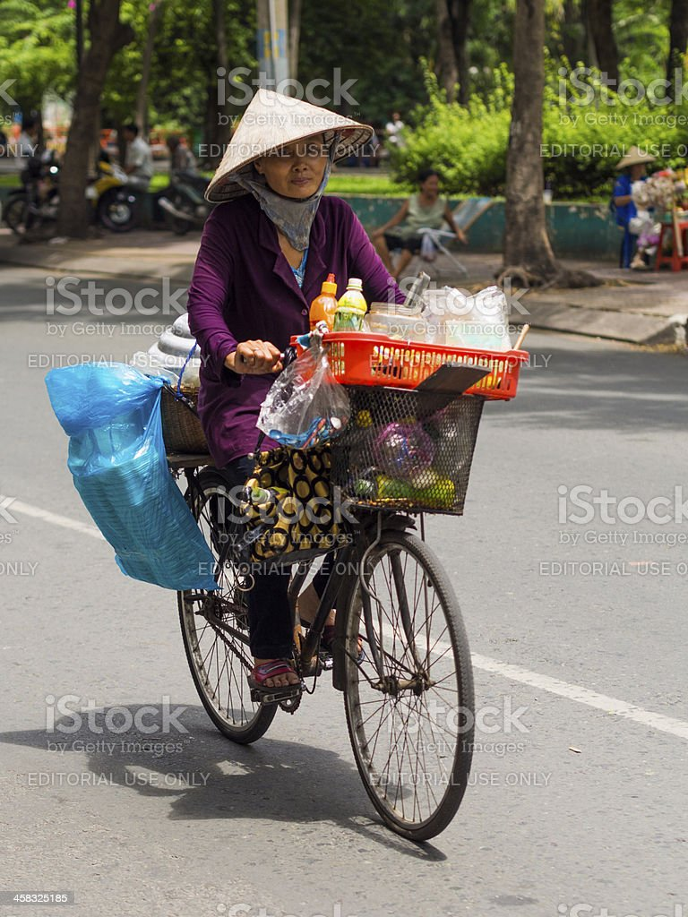 Bicycle fruit vendor, Ho Chi Minh City, Vietnam royalty-free stock photo