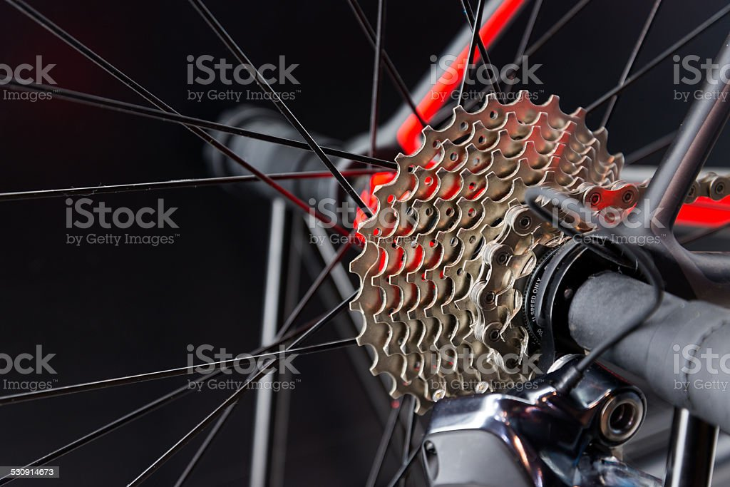 Bicycle gears chain system stock photo