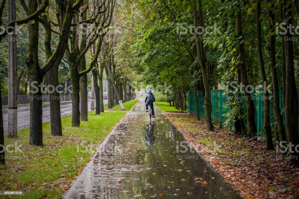 Bicycle hike in rainy autumn weather stock photo