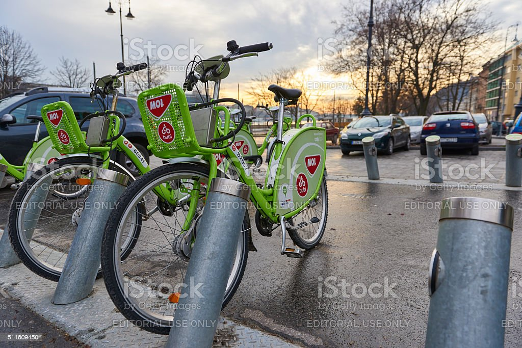 Bicycle hire in Budapest stock photo