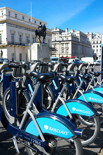 Bicycle Hire Scheme In London stock photo