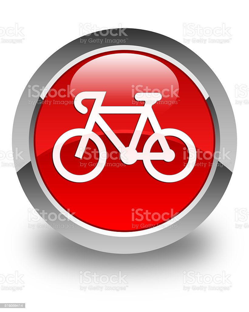 Bicycle icon glossy red round button stock photo
