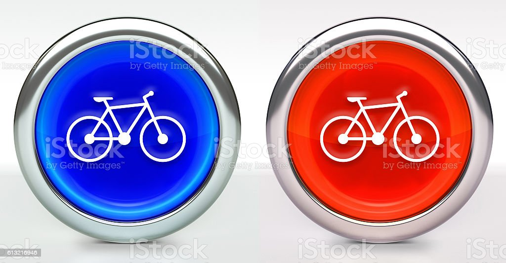 Bicycle Icon on Button with Metallic Rim stock photo
