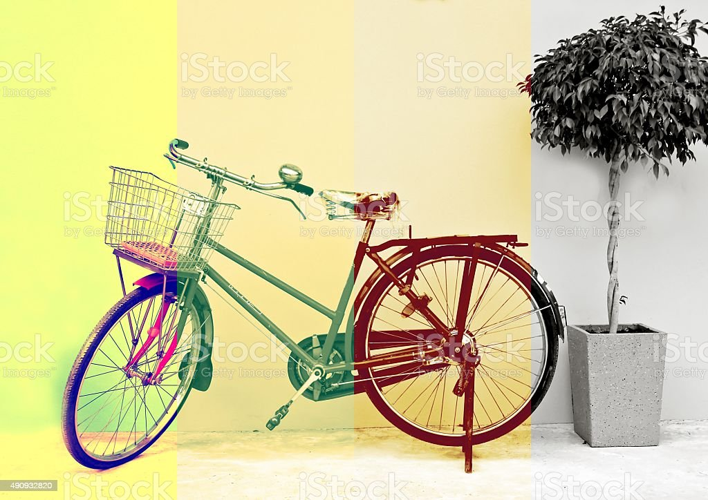 Bicycle in 4 tone color stock photo