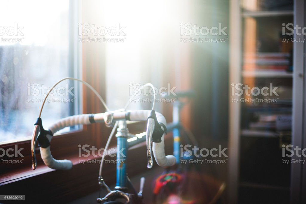 A bicycle in an apartment room royalty-free stock photo