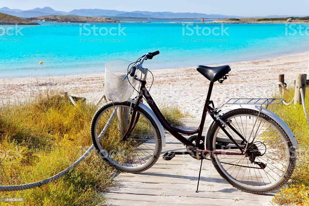 Bicycle in formentera beach on Balearic islands stock photo