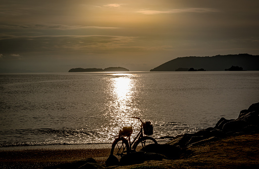 Bicycle in front of the bay of Parati, Rio de Janeiro