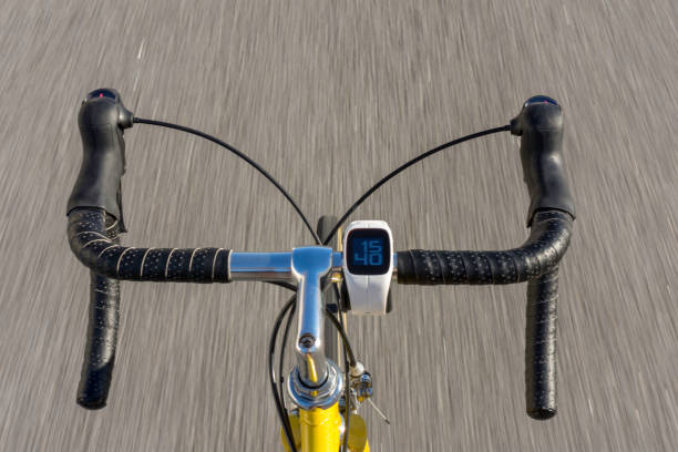 bicycle in motion stock photo