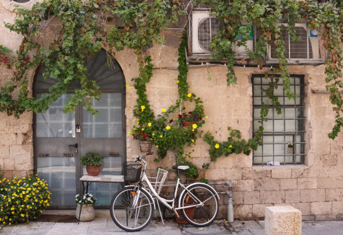 Bicycle In Old Jaffa Stock Photo - Download Image Now