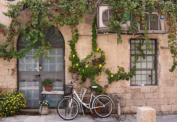 Bicycle in Old Jaffa stock photo