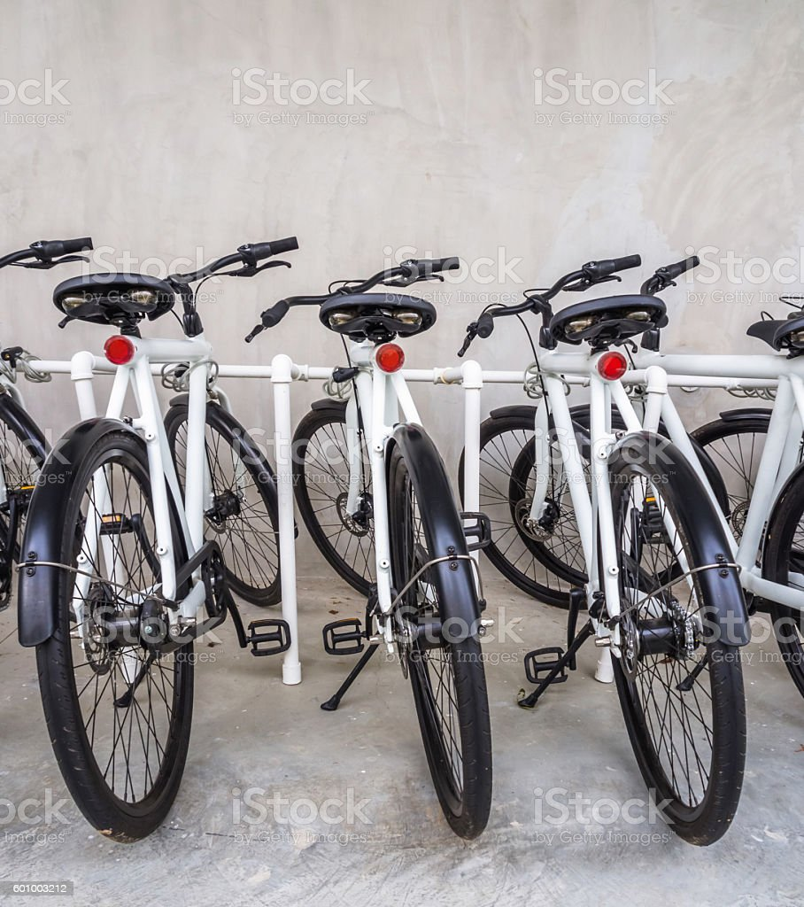 Bicycle in parking stock photo