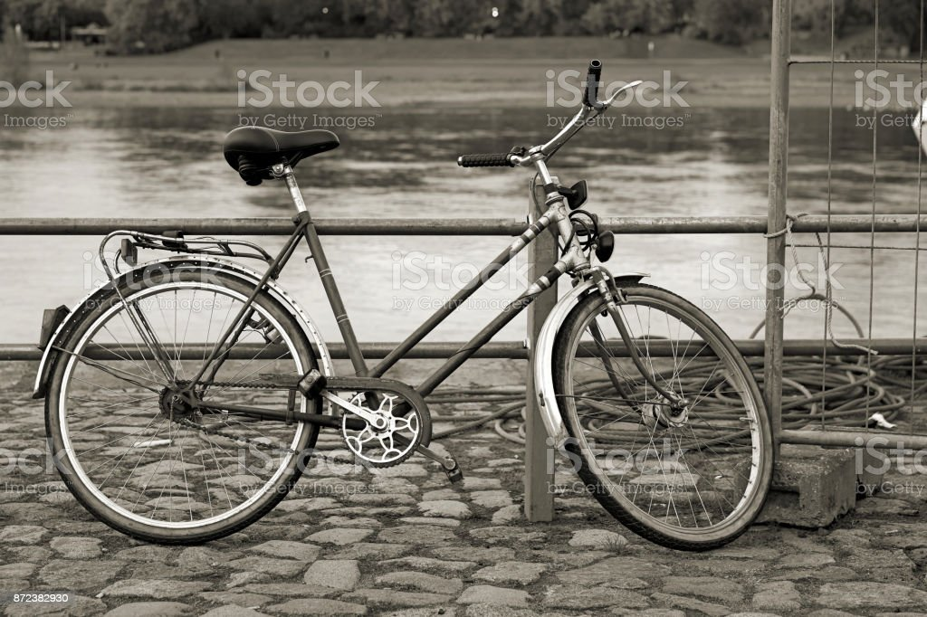 Bicycle in the harbor stock photo