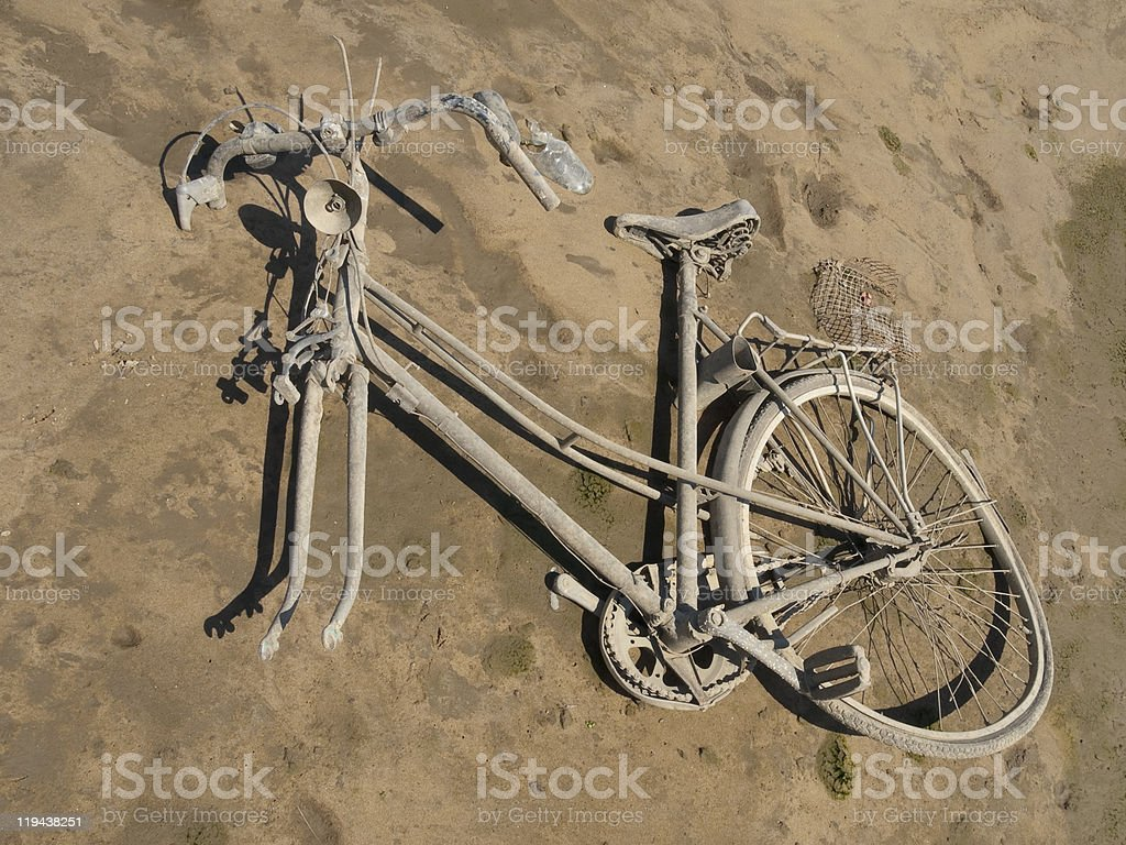 Bicycle in the river bank. stock photo