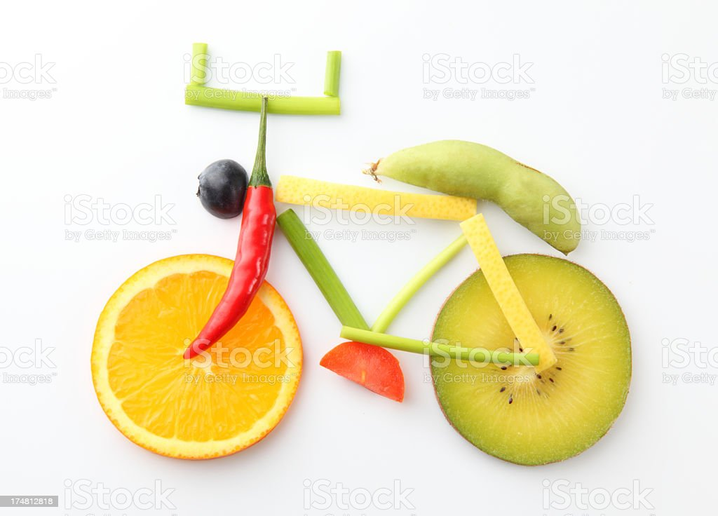 bicycle in vegetable and fruit style royalty-free stock photo